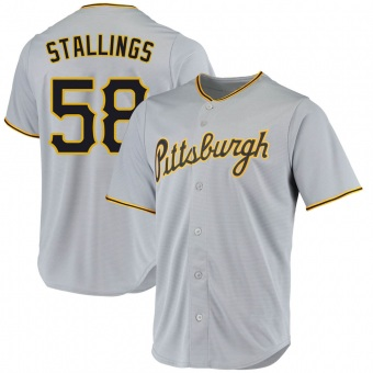 Men's Jacob Stallings Pittsburgh Gray Replica Road Baseball Jersey (Unsigned No Brands/Logos)