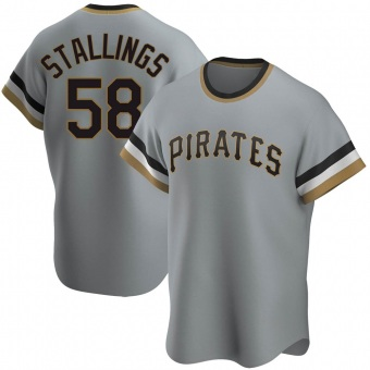 Men's Jacob Stallings Pittsburgh Gray Replica Road Cooperstown Collection Baseball Jersey (Unsigned No Brands/Logos)