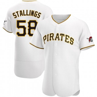 Men's Jacob Stallings Pittsburgh White Authentic Home Baseball Jersey (Unsigned No Brands/Logos)