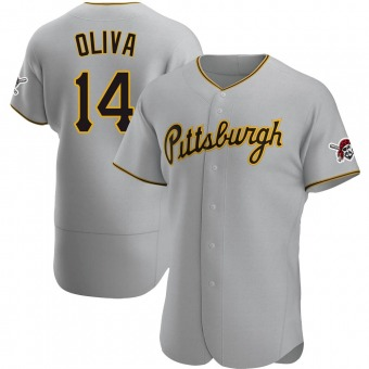 Men's Jared Oliva Pittsburgh Gray Authentic Road Baseball Jersey (Unsigned No Brands/Logos)