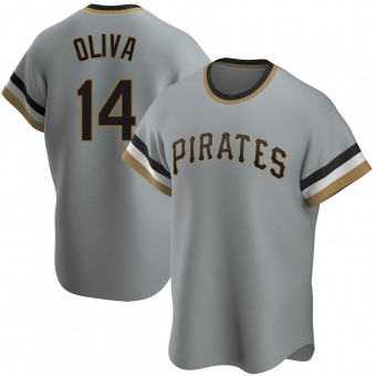 Men's Jared Oliva Pittsburgh Gray Replica Road Cooperstown Collection Baseball Jersey (Unsigned No Brands/Logos)