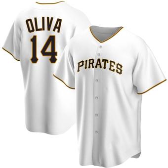 Men's Jared Oliva Pittsburgh White Replica Home Baseball Jersey (Unsigned No Brands/Logos)