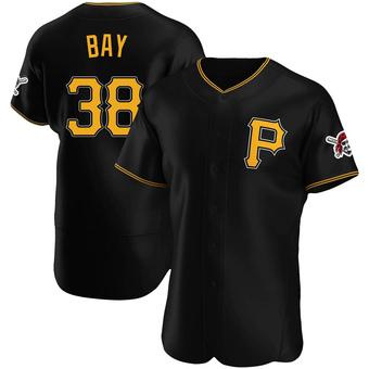 Men's Jason Bay Pittsburgh Black Authentic Alternate Baseball Jersey (Unsigned No Brands/Logos)