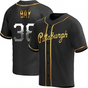 Men's Jason Bay Pittsburgh Black Golden Replica Alternate Baseball Jersey (Unsigned No Brands/Logos)