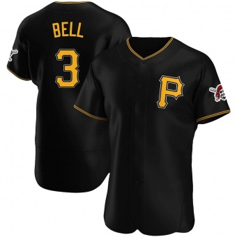 Men's Jay Bell Pittsburgh Black Authentic Alternate Baseball Jersey (Unsigned No Brands/Logos)