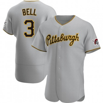 Men's Jay Bell Pittsburgh Gray Authentic Road Baseball Jersey (Unsigned No Brands/Logos)