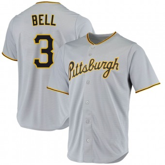 Men's Jay Bell Pittsburgh Gray Replica Road Baseball Jersey (Unsigned No Brands/Logos)
