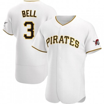 Men's Jay Bell Pittsburgh White Authentic Home Baseball Jersey (Unsigned No Brands/Logos)