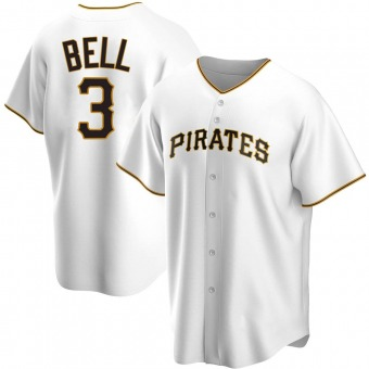 Men's Jay Bell Pittsburgh White Replica Home Baseball Jersey (Unsigned No Brands/Logos)