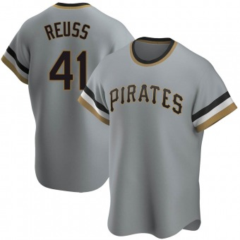 Men's Jerry Reuss Pittsburgh Gray Replica Road Cooperstown Collection Baseball Jersey (Unsigned No Brands/Logos)
