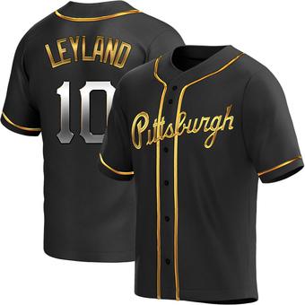 Men's Jim Leyland Pittsburgh Black Golden Replica Alternate Baseball Jersey (Unsigned No Brands/Logos)