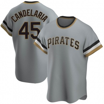 Men's John Candelaria Pittsburgh Gray Replica Road Cooperstown Collection Baseball Jersey (Unsigned No Brands/Logos)