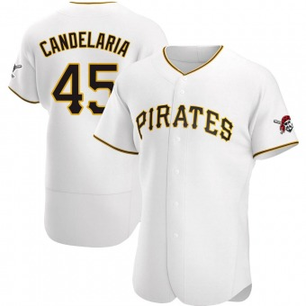 Men's John Candelaria Pittsburgh White Authentic Home Baseball Jersey (Unsigned No Brands/Logos)