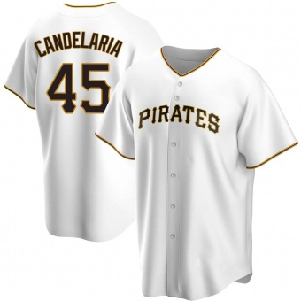 Men's John Candelaria Pittsburgh White Replica Home Baseball Jersey (Unsigned No Brands/Logos)