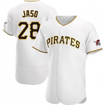 Men's John Jaso Pittsburgh White Authentic Home Baseball Jersey (Unsigned No Brands/Logos)
