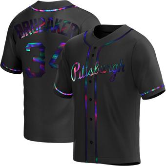 Men's JT Brubaker Pittsburgh Black Holographic Replica Alternate Baseball Jersey (Unsigned No Brands/Logos)