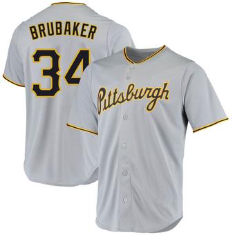 Men's JT Brubaker Pittsburgh Gray Replica Road Baseball Jersey (Unsigned No Brands/Logos)
