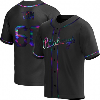 Men's Ka'ai Tom Pittsburgh Black Holographic Replica Alternate Baseball Jersey (Unsigned No Brands/Logos)