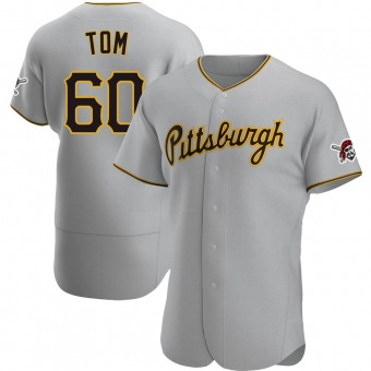 Men's Ka'ai Tom Pittsburgh Gray Authentic Road Baseball Jersey (Unsigned No Brands/Logos)