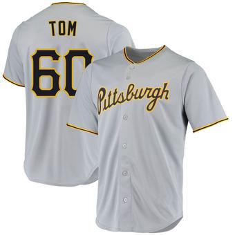 Men's Ka'ai Tom Pittsburgh Gray Replica Road Baseball Jersey (Unsigned No Brands/Logos)
