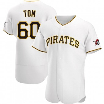 Men's Ka'ai Tom Pittsburgh White Authentic Home Baseball Jersey (Unsigned No Brands/Logos)