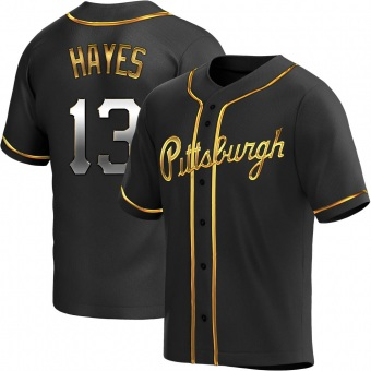 Men's Ke'Bryan Hayes Pittsburgh Black Golden Replica Alternate Baseball Jersey (Unsigned No Brands/Logos)