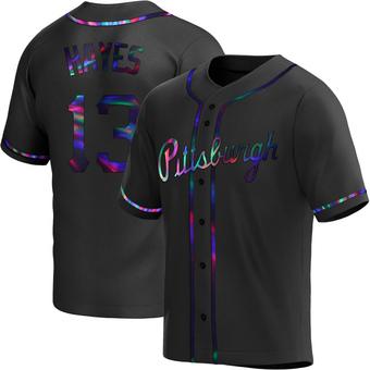 Men's Ke'Bryan Hayes Pittsburgh Black Holographic Replica Alternate Baseball Jersey (Unsigned No Brands/Logos)