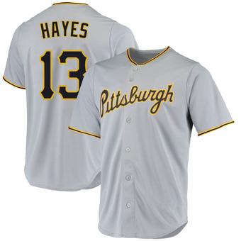 Men's Ke'Bryan Hayes Pittsburgh Gray Replica Road Baseball Jersey (Unsigned No Brands/Logos)