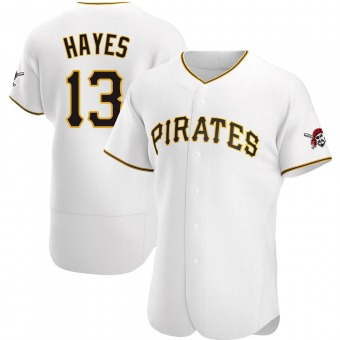 Men's Ke'Bryan Hayes Pittsburgh White Authentic Home Baseball Jersey (Unsigned No Brands/Logos)