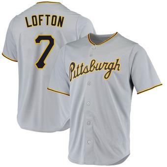 Men's Kenny Lofton Pittsburgh Gray Replica Road Baseball Jersey (Unsigned No Brands/Logos)