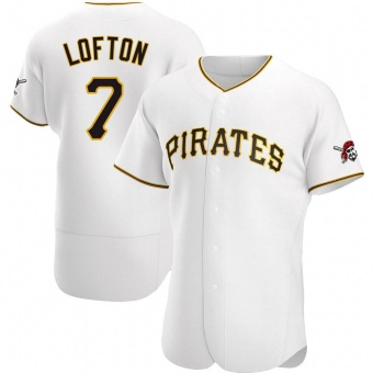 Men's Kenny Lofton Pittsburgh White Authentic Home Baseball Jersey (Unsigned No Brands/Logos)
