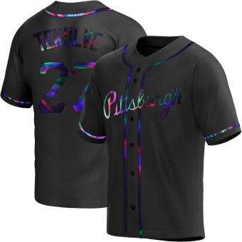Men's Kent Tekulve Pittsburgh Black Holographic Replica Alternate Baseball Jersey (Unsigned No Brands/Logos)