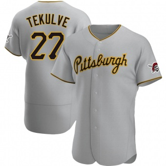 Men's Kent Tekulve Pittsburgh Gray Authentic Road Baseball Jersey (Unsigned No Brands/Logos)