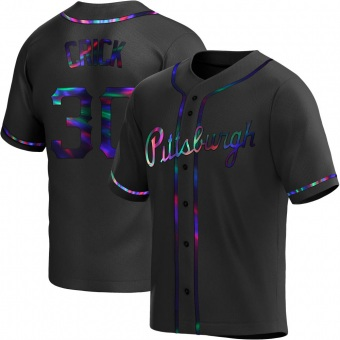 Men's Kyle Crick Pittsburgh Black Holographic Replica Alternate Baseball Jersey (Unsigned No Brands/Logos)