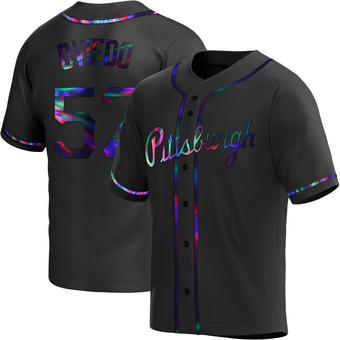 Men's Luis Oviedo Pittsburgh Black Holographic Replica Alternate Baseball Jersey (Unsigned No Brands/Logos)