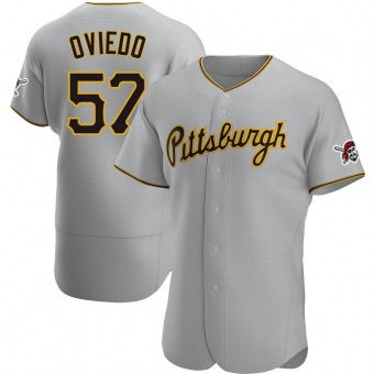 Men's Luis Oviedo Pittsburgh Gray Authentic Road Baseball Jersey (Unsigned No Brands/Logos)