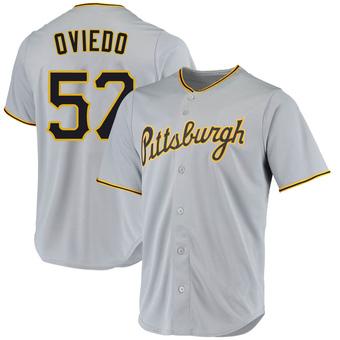 Men's Luis Oviedo Pittsburgh Gray Replica Road Baseball Jersey (Unsigned No Brands/Logos)