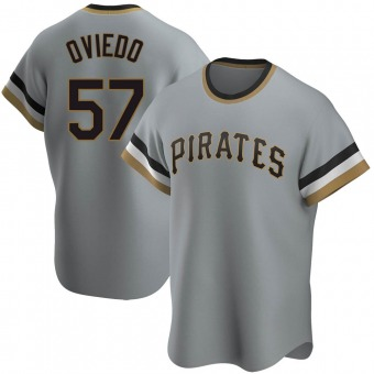 Men's Luis Oviedo Pittsburgh Gray Replica Road Cooperstown Collection Baseball Jersey (Unsigned No Brands/Logos)
