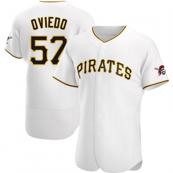 Men's Luis Oviedo Pittsburgh White Authentic Home Baseball Jersey (Unsigned No Brands/Logos)