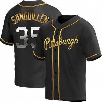 Men's Manny Sanguillen Pittsburgh Black Golden Replica Alternate Baseball Jersey (Unsigned No Brands/Logos)