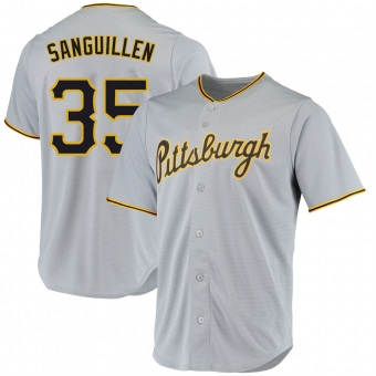 Men's Manny Sanguillen Pittsburgh Gray Replica Road Baseball Jersey (Unsigned No Brands/Logos)
