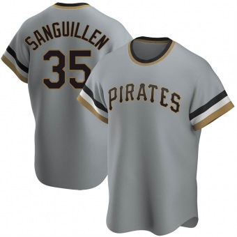 Men's Manny Sanguillen Pittsburgh Gray Replica Road Cooperstown Collection Baseball Jersey (Unsigned No Brands/Logos)