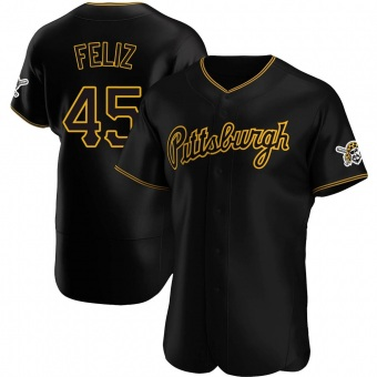 Men's Michael Feliz Pittsburgh Black Authentic Alternate Team Baseball Jersey (Unsigned No Brands/Logos)