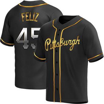 Men's Michael Feliz Pittsburgh Black Golden Replica Alternate Baseball Jersey (Unsigned No Brands/Logos)