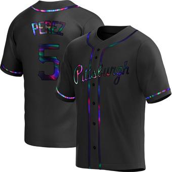 Men's Michael Perez Pittsburgh Black Holographic Replica Alternate Baseball Jersey (Unsigned No Brands/Logos)
