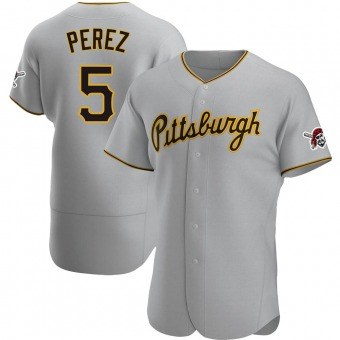 Men's Michael Perez Pittsburgh Gray Authentic Road Baseball Jersey (Unsigned No Brands/Logos)