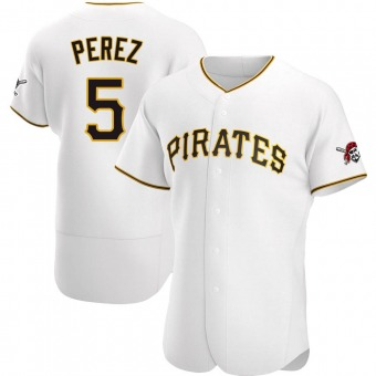 Men's Michael Perez Pittsburgh White Authentic Home Baseball Jersey (Unsigned No Brands/Logos)
