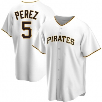 Men's Michael Perez Pittsburgh White Replica Home Baseball Jersey (Unsigned No Brands/Logos)