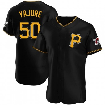 Men's Miguel Yajure Pittsburgh Black Authentic Alternate Baseball Jersey (Unsigned No Brands/Logos)
