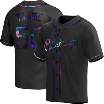 Men's Miguel Yajure Pittsburgh Black Holographic Replica Alternate Baseball Jersey (Unsigned No Brands/Logos)